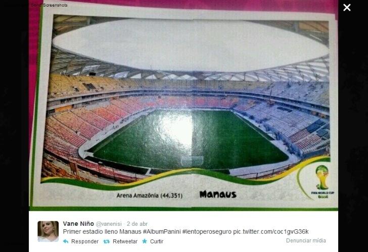 "09.04.14 - ""Primeiro estádio completo: Manaus"", publicou Vane Niño, da Colômbia"