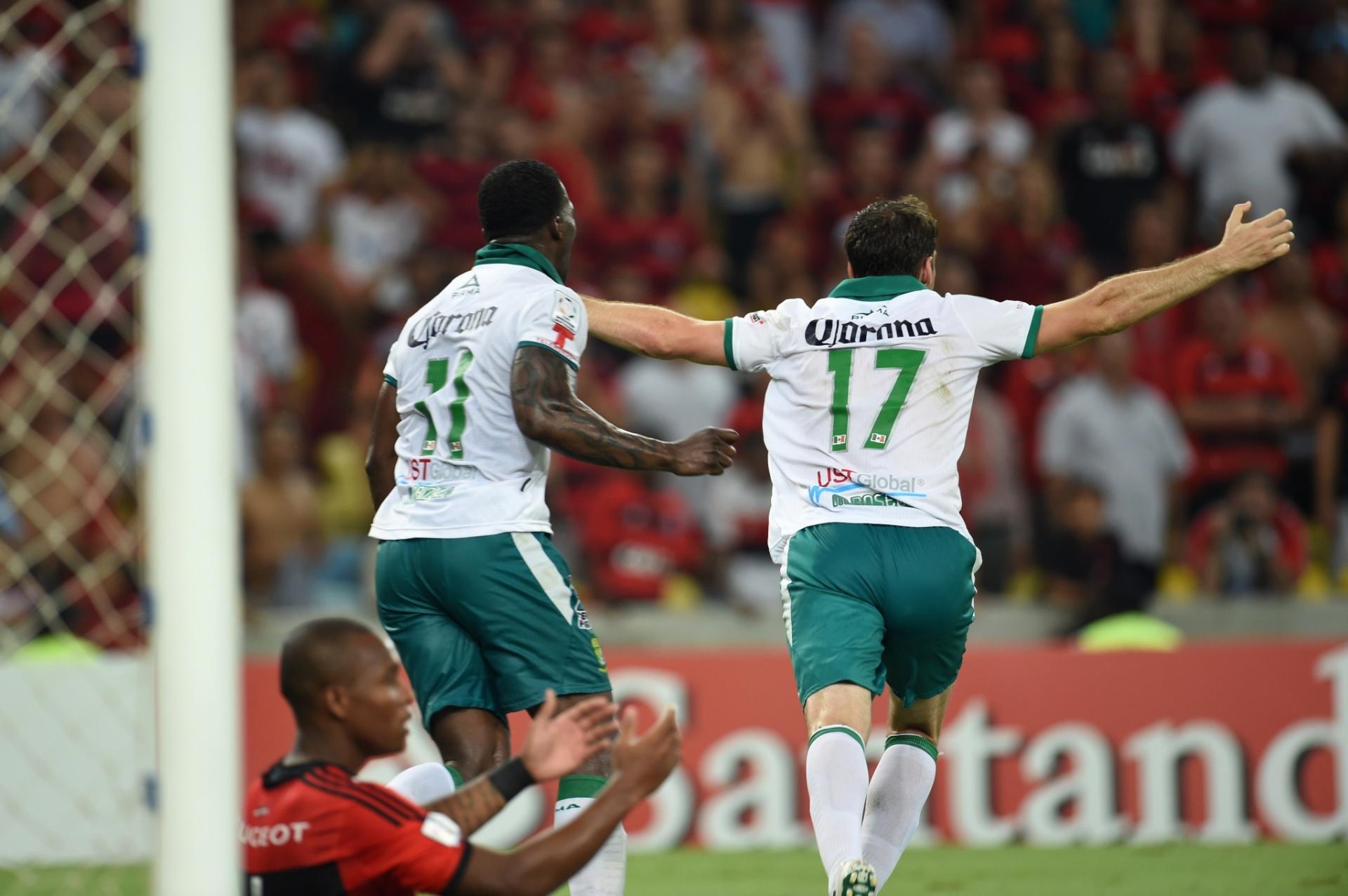 09.04.2014 - Boselli celebra segundo gol marcado pelo Leon na partida contra o Flamengo pela Libertadores