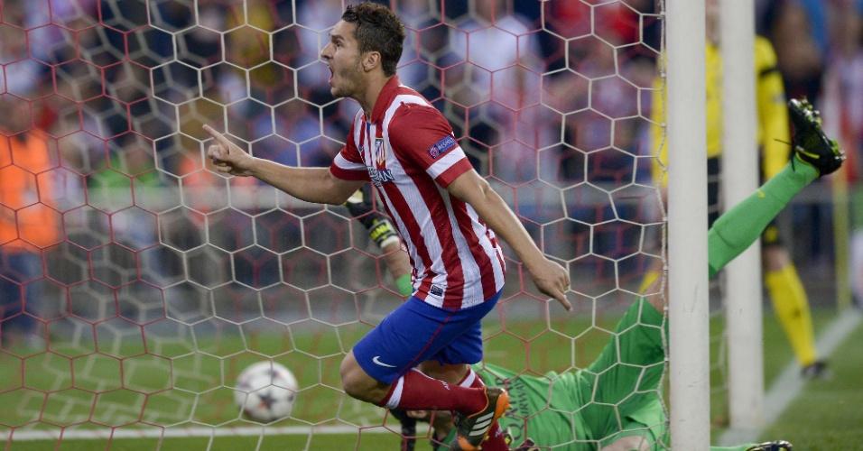 9.abr.2014 - Meia Koke comemora o primeiro gol do Atlético de Madri no duelo contra o Barcelona