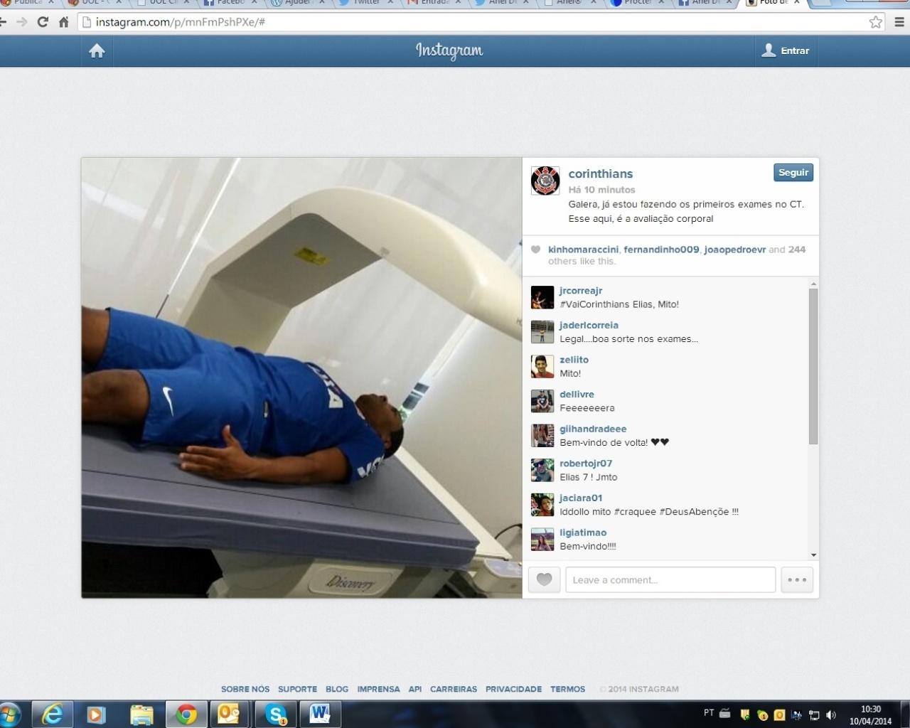 10.04.2014 - Elias passa por exames médicos antes de ser apresentado no Corinthians