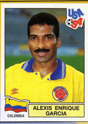 "Alexis Garcia/Colômbia-1998: Cabelo curto, estilo mauricinho... Aí o bigode mostra o lado ""ousado"" de Garcia."