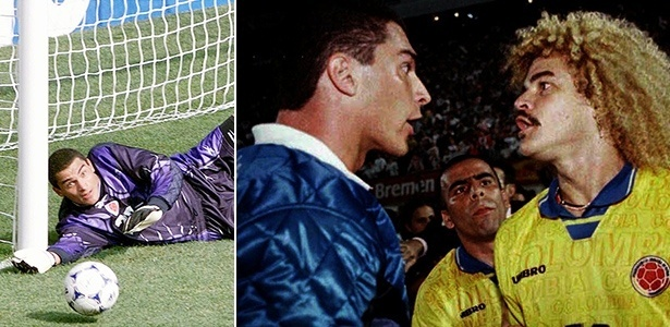 Faryd Mondragón foi reserva da Colômbia em 1994 e titular em 1998; sempre ao lado de Valderrama