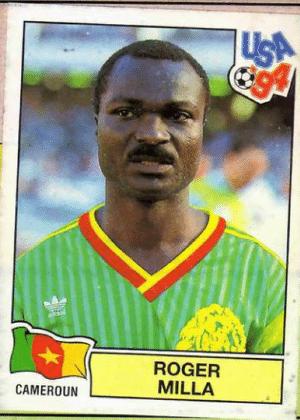 Roger Milla/Camarões-1994: Milla, em 1994, se tornou o mais velho jogador a atuar e a marcar em Copas. Nada como um belo bigode para provar sua idade (42 anos à época).