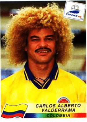 Valderrama/Colômbia-1998: É só comparar. Valderrama, cabelo e bigode únicos.