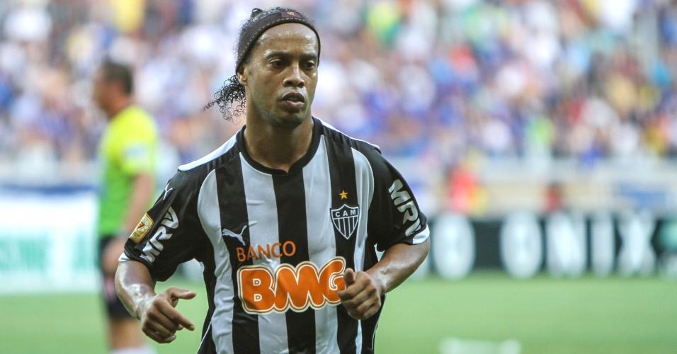 Ronaldinho Gaúcho durante final do Campeonato Mineiro entre Atlético-MG e Cruzeiro no Mineirão