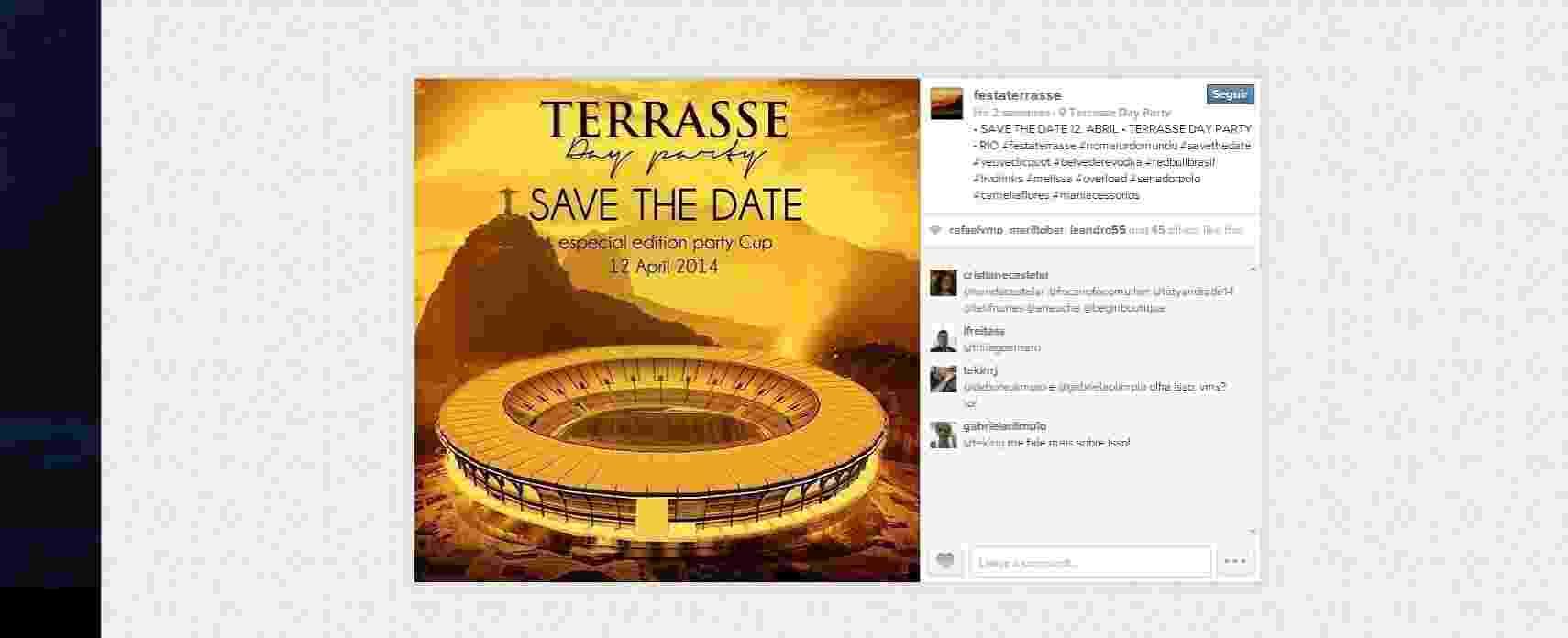 Curiosamente, divulgação de festa no Maracanã lembra de Copa do Mundo, mas usa imagem do estádio antes de reforma - Reprodução/Instagram