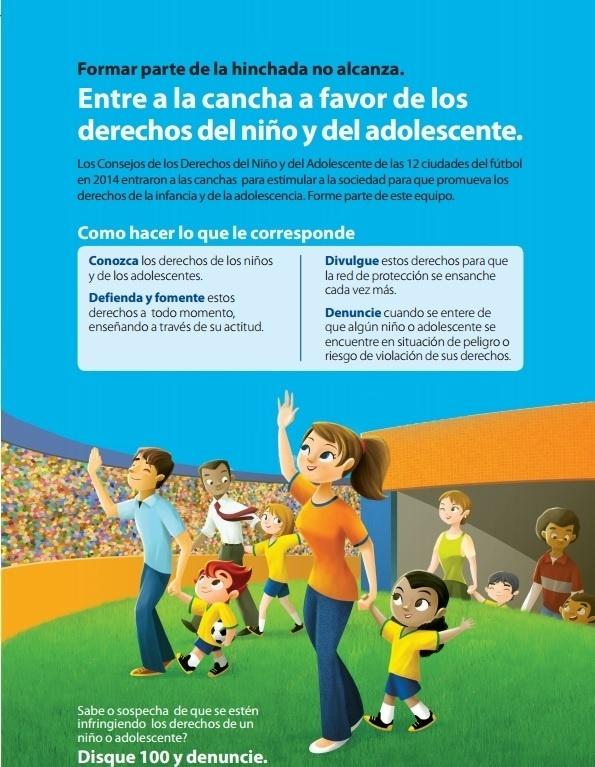 Cartaz contra abuso infantil durante a Copa do Mundo produzido pela Secretaria Nacional de Direitos Humanos