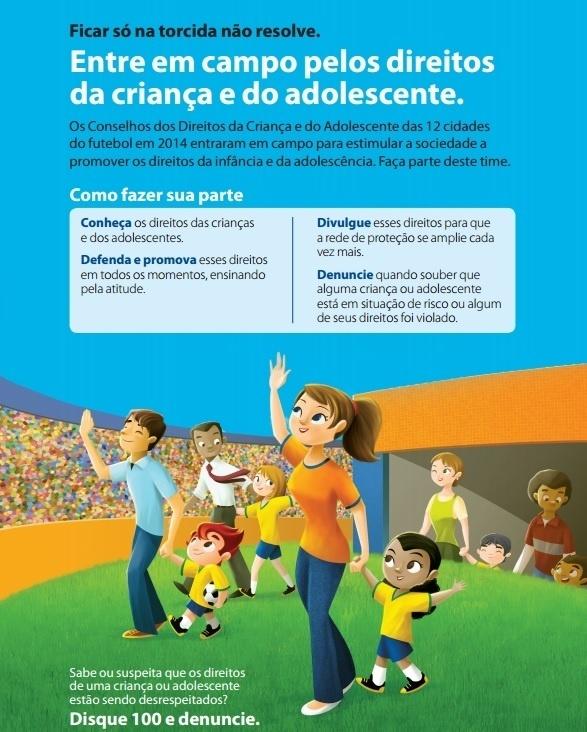 Cartaz em português convida os turistas a denunciar abusos contra os direitos das crianças e adolescentes