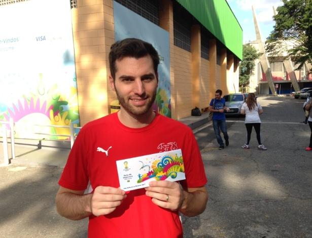 O suíço Marco Bucheli se surpreendeu com a facilidade para pegar o ingresso da Copa do Mundo