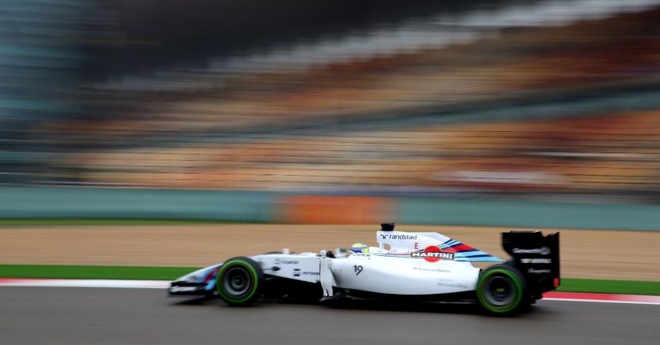 19.abr.2014 - Felipe Massa acelera sua Williams pelo circuito de Xangai durante o treino de classificação para o GP da China