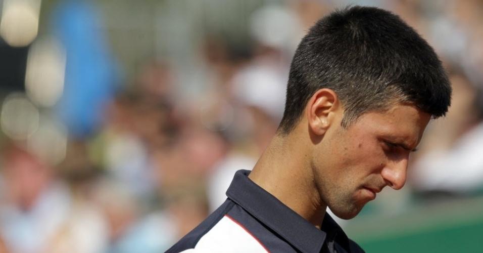 19.abr.2014 - Novak Djokovic durante derrota para Roger Federer na semifinal do Masters 1000 de Monte Carlo