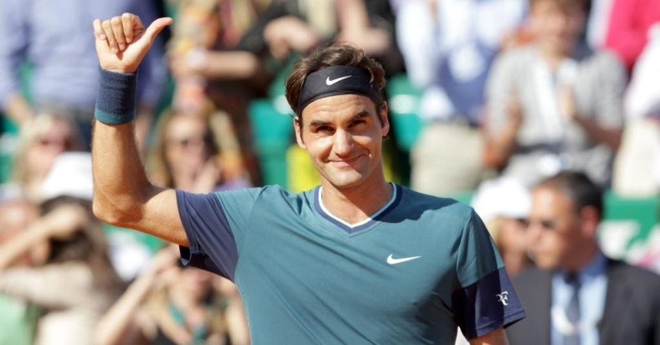 19.abr.2014 - Roger Federer comemora vitória sobre Novak Djokovic