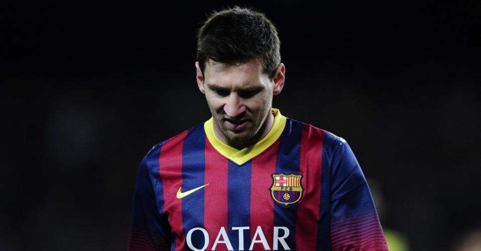 20. abr. 2014 - Messi lamenta chance desperdiçada pelo Barcelona na partida contra o Athletic Bilbao, pelo Campeonato Espanho
