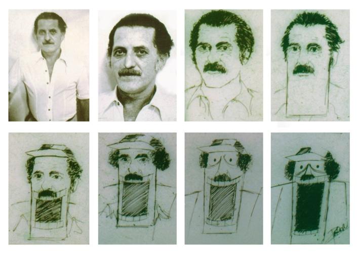 Primeiro esboços para o personagem feito pelo desenhista José Peron