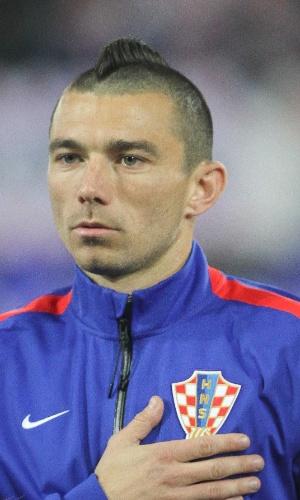 05.mar.2014 - Danijel Pranjic, da Croácia, posa antes do amistoso contra a Suíça em St. Gallen