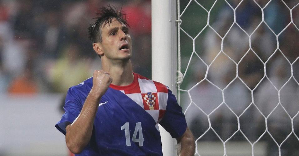10.set.2013 - Nikola Kalinic comemora gol marcado pela Croácia no amistoso contra a Coreia do Sul em Jeonju