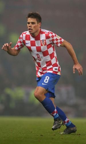 15.out.2013 -  Ognjen Vukojevic, da Croácia, parte para a jogada durante jogo contra a Escócia pelas eliminatórias da Copa do Mundo-2014