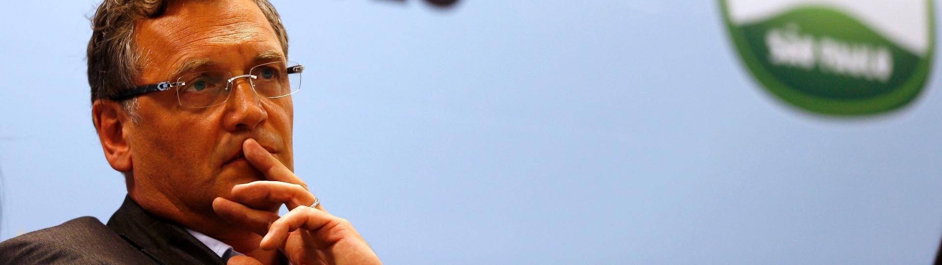 22.04.2014 - Jerome Valcke, secretário-geral da Fifa, responde as perguntas dos jornalistas no Itaquerão