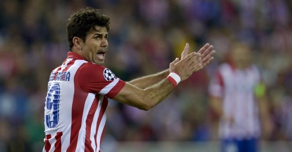 22.abr.2014 - Diego Costa reclama durante a partida entre Atlético de Madri e Chelsea pelas semifinais da Liga dos Campeões