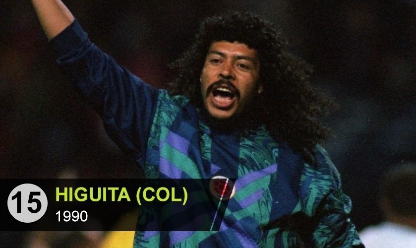 """Higuita (COL): """"A ousadia do goleiro colombiano com a bola nos pés era admirada internacionalmente. Mas a falha que permitiu o gol de Camarões e eliminou a Colômbia da Copa de 1990 deixou em sua testa o carimbo de irresponsável"""", diz Perrone"""