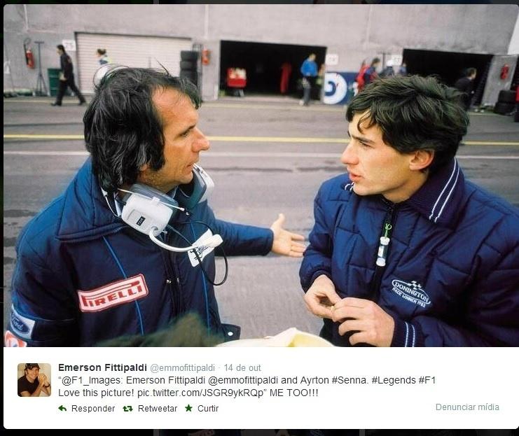 24.04.14 - Emerson Fittipaldi e Ayrton Senna no início dos anos 1980, em foto reproduzida do Twitter do bicampeão da F1