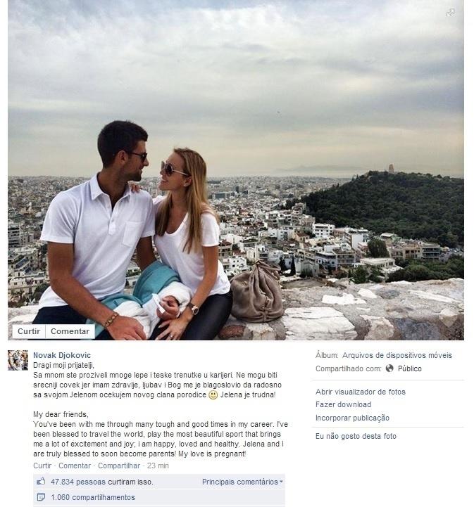 24.04.14 - Novak Djokovic anuncia pelo Facebook que será pai pela primeira vez