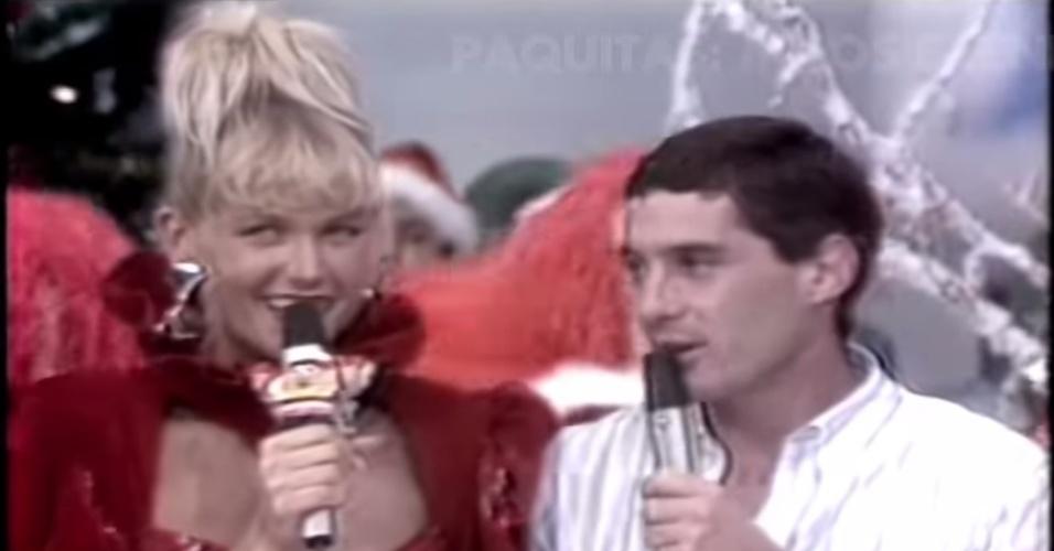 24.04.14 - Senna e Xuxa no Xou da Xuxa, em 1988
