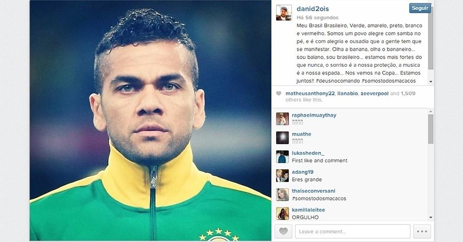 28.abr.2014 - Daniel Alves diz que está