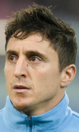 05.mar.2014 - Crístian Rodríguez, do Uruguai, fica perfilado antes do amistoso contra a Áustria em Klagenfurt