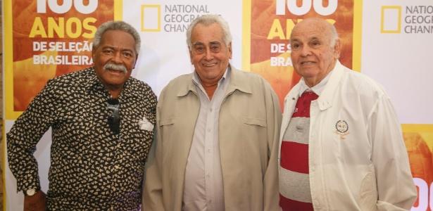 Coutinho, Zito e Pepe em evento de lançamento de documentário sobre os 100 anos da seleção brasileira