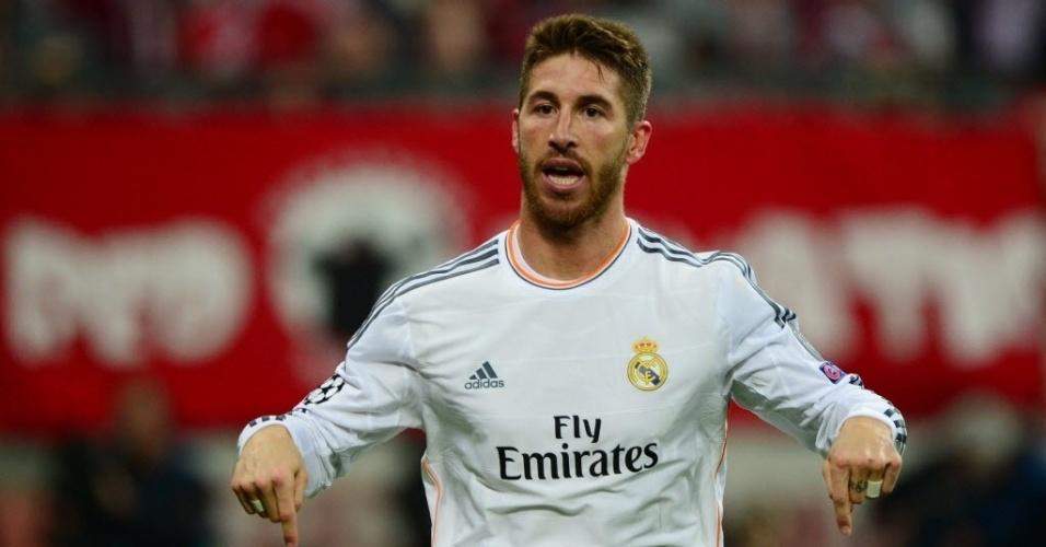 Sergio Ramos marcou dois gols para o Real no duelo contra o Bayern de Munique (29.abr.2014)