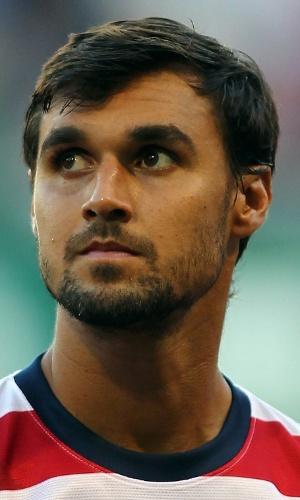 09.jul.2013 - Chris Wondolowski, dos EUA, fica perfilado antes da partida contra Belize pela Copa Ouro