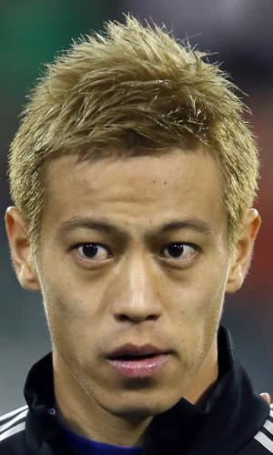 19.nov.2013 - Keisuke Honda, do Jaão, fica perfilado antes do amistoso contra a Bélgica em Bruxelas