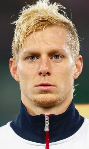 20.nov.2013 - Brek Shea, dos EUA, fica perfilado antes do amistoso contra a Áustria em Viena