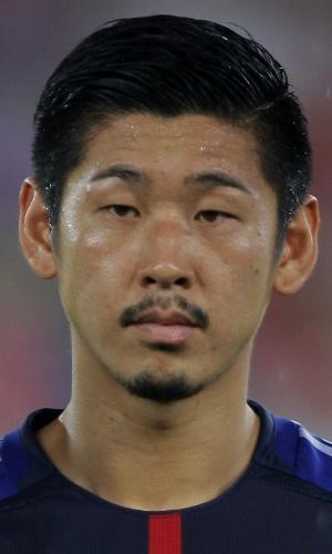 28.jul.2013 - Yuzo Kurihara, do Japão, se perfila antes da partida contra a Coreia do Sul