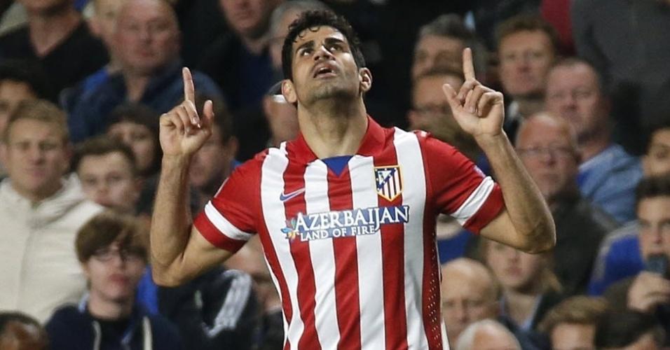Diego Costa comemora após marcar de pênalti para o Atlético de Madri (30.abr.2014)