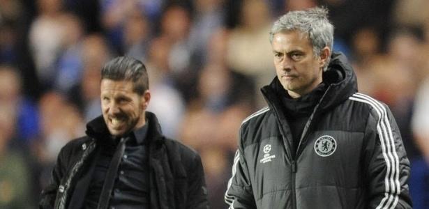 Diego Simeone, técnico argentino do Atlético de Madri, e José Mourinho, português do Manchester United