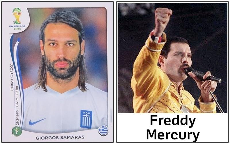 O atacante grego Samaras poderia comemorar seus gols na Copa com dancinhas de Freddy Mercury, não?