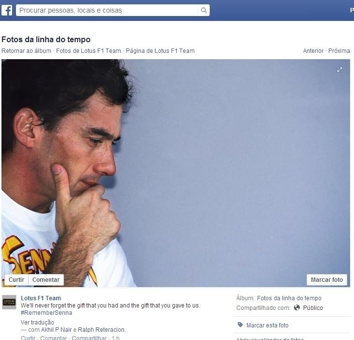 A equipe Lotus também prestou uma homenagem a Ayrton Senna.