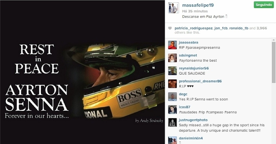 O brasileiro Felipe Massa também deixou sua homenagem no Instagram.