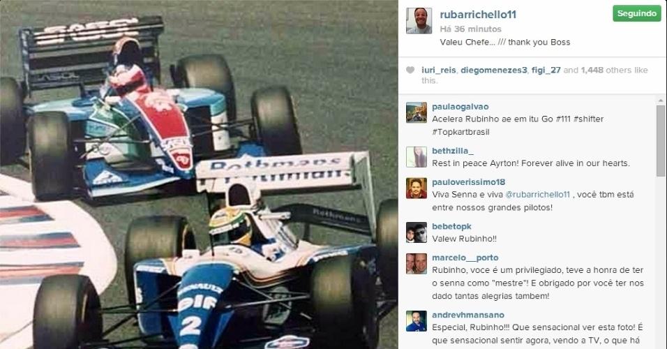 O piloto Rubens Barrichello, que sofreu um grave acidente em Ímola dois dias antes da morte de Ayrton Senna, fez uma homenagem ao tricampeão no Instagram.