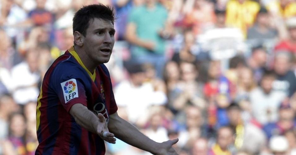 03.mai.2014 - Messi reclama de lance na partida entre Barcelona e Getafe pela 36ª rodada do Campeonato Espanhol