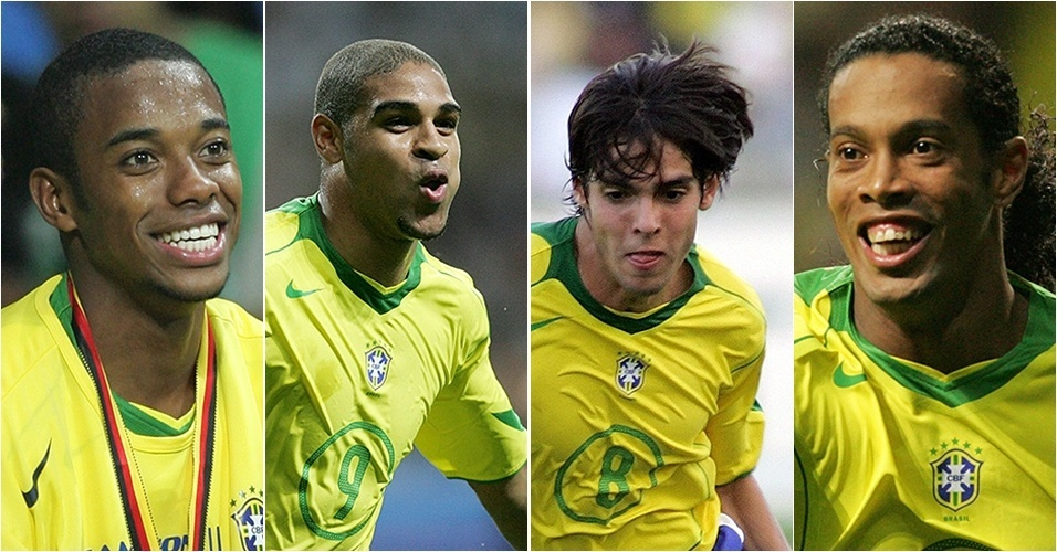 Robinho, Adriano, Kaká e Ronaldinho Gaúcho em 2006