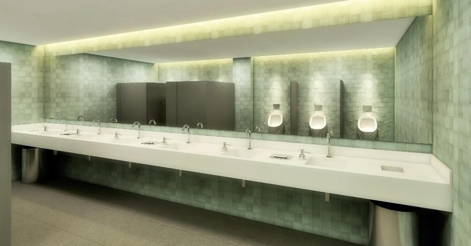 Serão dois vestiários, um do Palmeiras, com 355 metros quadrados, e outro para a equipe visitante, com 270 metros quadrados
