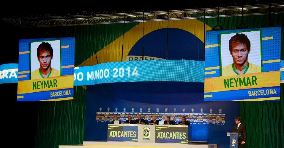 07.mai.2014 - Imagem de Neymar aparece no telão após Felipão anunciar o seu nome como um dos 23 convocados para a Copa do Mundo