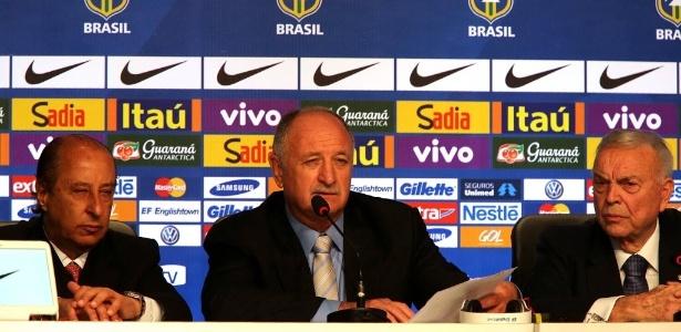 Marco Polo del Nero, Felipão e Jose Maria Marin durante convocação da seleção brasileira para a Copa do Mundo