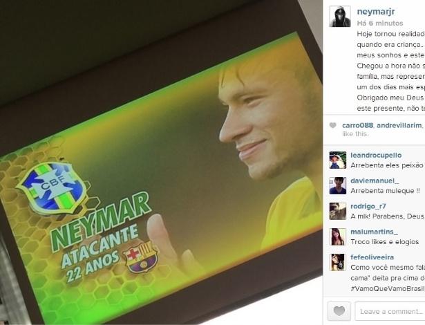 Neymar posta foto no Instagram comemorando convocação para a Copa do Mundo