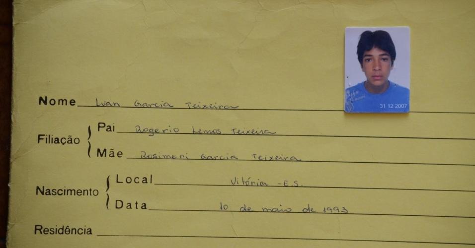 Ficha escolar do zagueiro Luan no Colégio Vasco da Gama