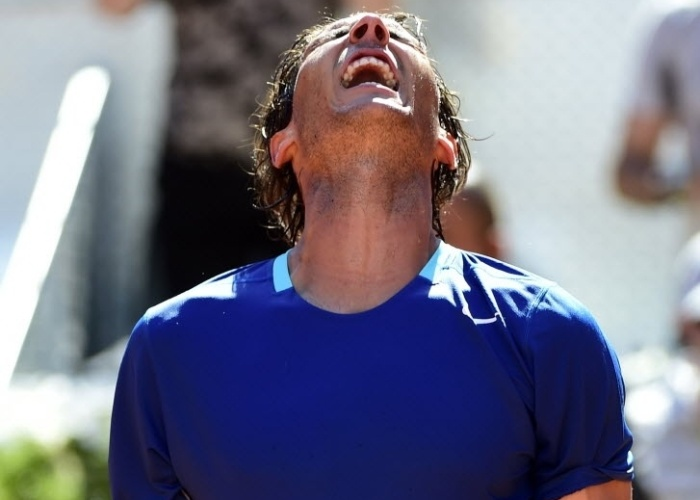 09.mai.2014 - Rafael Nadal comemora depois de vencer Tomas Berdych por 2 sets a 0 nas quartas de final do Masters 1000 de Madri