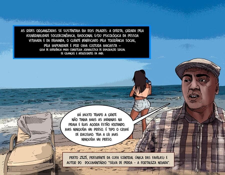 Capítulo 1: Preto Zezé, presidente da Cufa, diz que há muito tempo não se viam meninas se prostituindo nas praias, mas que elas estão voltando para lá.